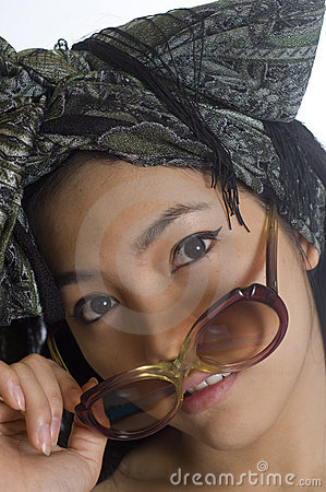 Portrait of young Asian woman with sunglasses