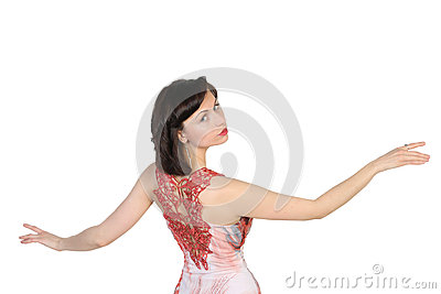 Portrait of  beautiful brunette with raised open hands