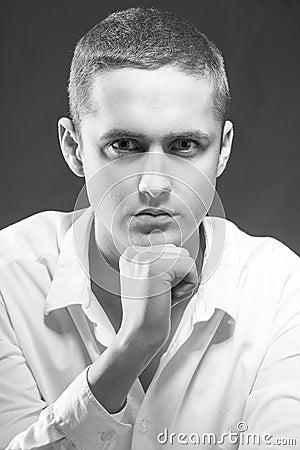 Closeup portrait of handsome young man