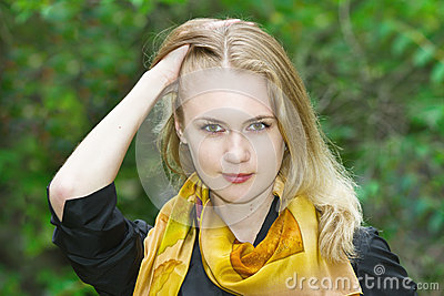 Portrait of a young beautiful blonde girl