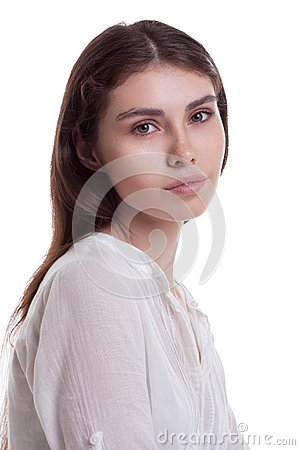 Portrait of young beautiful girl with freckles