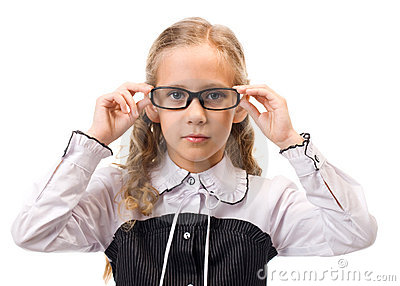 Portrait of a young beautiful girl in glasses