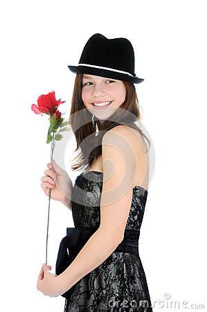 Portrait of a young and beautiful girl with rose isolated on the white background