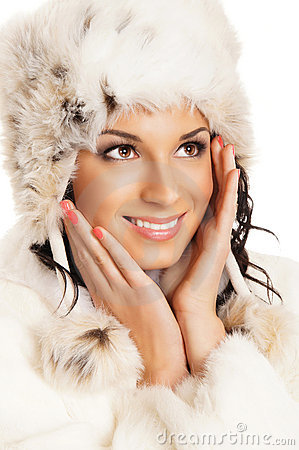Portrait of young beautiful girl in winter style