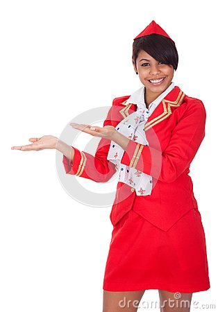 Portrait of young beautiful stewardess