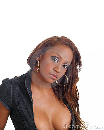Portrait of young black woman with cleavage