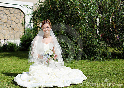 Portrait of a young bride in a white dress Stock Photo
