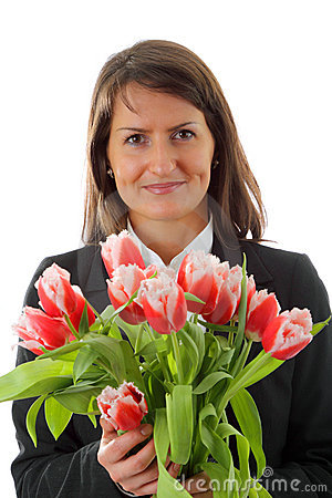 Portrait of young business woman with nosegay