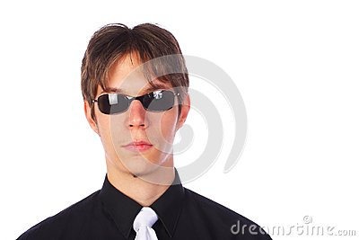 Portrait of a young businessman, isolated on white