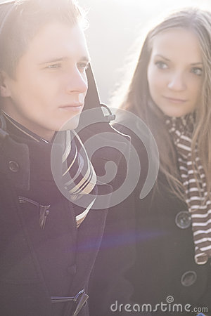 Portrait of young caucasian couple together