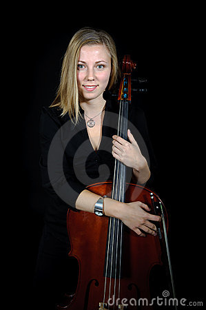Portrait of young cellist with cello