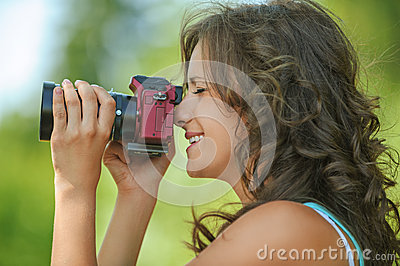 Portrait young charming holding hands camera