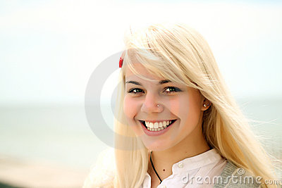 Portrait of a young cheerful girl