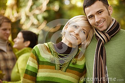 Portrait of young couple in autumn