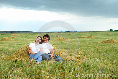 Portrait of a young couple in love outdoors