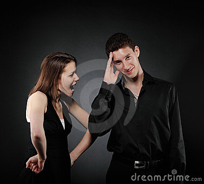 Portrait of a young couple screaming