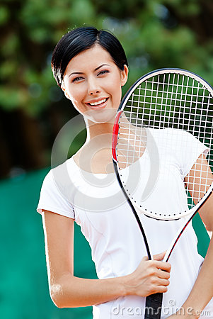 Portrait of young female tennis player