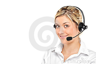 Portrait of a young female wearing a headset