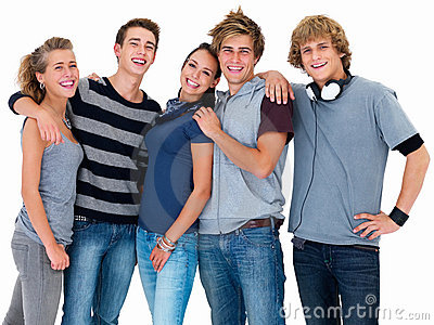 Portrait of young friends standing together