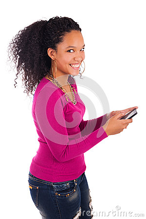 Portrait Of Young Girl african Talking On phone