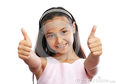 Portrait of young girl showing a thumbs up