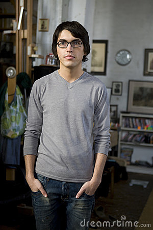 Portrait young handsome man in glasses