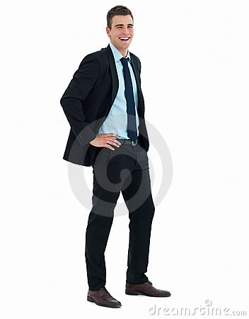 Portrait of a young happy business man isolated