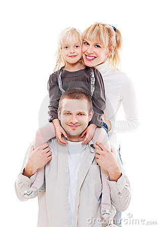 Portrait of young happy family