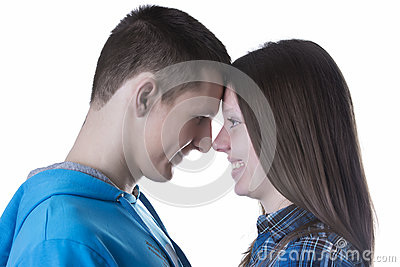 Profile portrait of young and happy couple in love