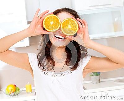 Woman with Orange over Eye