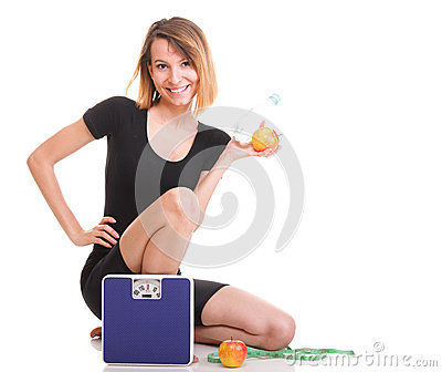 Portrait young healthy woman dieting concept