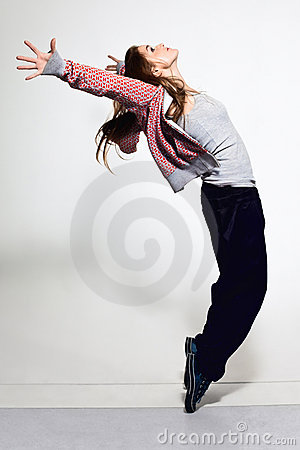 Portrait of young jumping girl