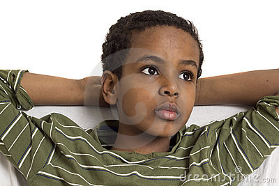 Portrait of a young kid looking up