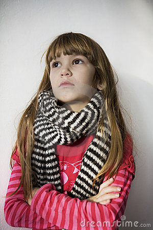 Portrait young little cute girl in scarf