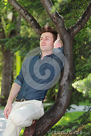 Portrait of young man relaxed on