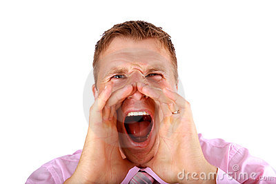 Portrait of a young man screaming out loud