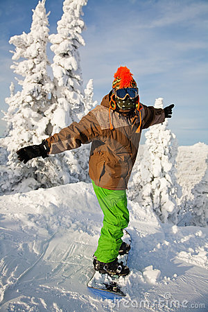 Portrait of a young man on the snowboard