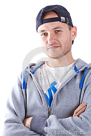 Portrait of young man in sport hat