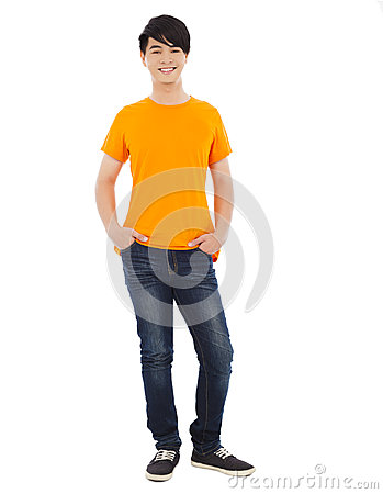 Portrait of young man standing.isolated on white background