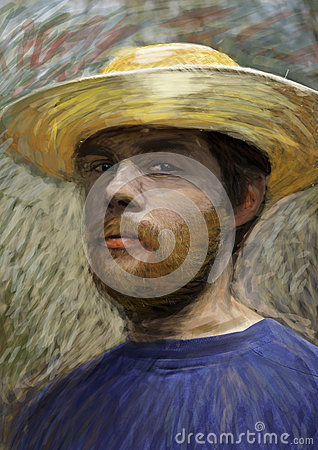 Portrait of young man with straw hat