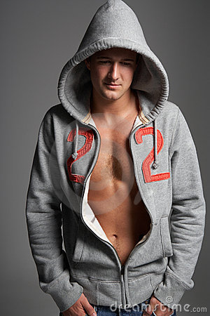 Portrait Of Young Man Wearing Hooded Sweat Top