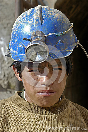 Portrait of young miner, child labor in Bolivia Editorial Stock Image