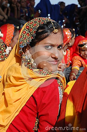 Portrait of young rajasthani girl at camel fair holiday in Pushkar Editorial Stock Image