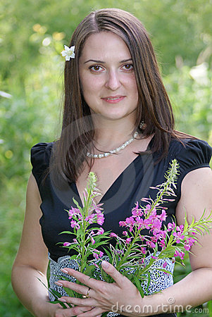 Portrait young romantic woman