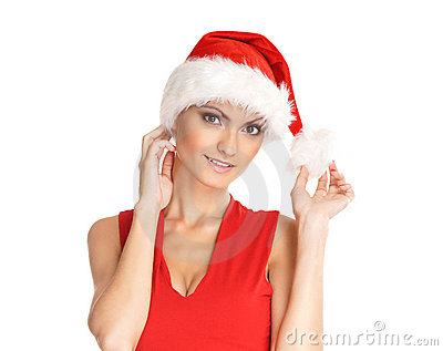 Portrait of young, sexy female Santa