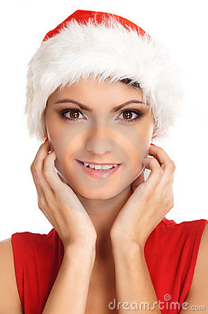 Portrait of a young, sexy female Santa
