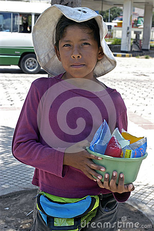 Portrait of young street vendor in the city Santa  Editorial Stock Photo