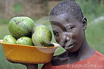 Portrait of young girl, street vendor, Uganda Editorial Photo