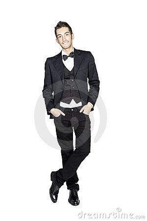 Portrait of young stylish man in tuxedo