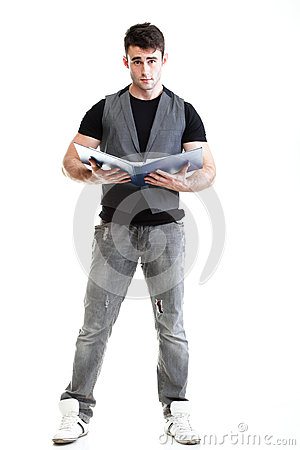 Portrait of young, successful, happy male student Isolated